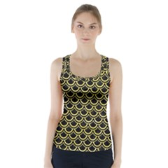 Scales2 Black Marble & Yellow Watercolor (r) Racer Back Sports Top