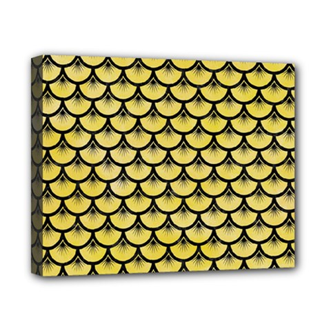 Scales3 Black Marble & Yellow Watercolor Canvas 10  X 8