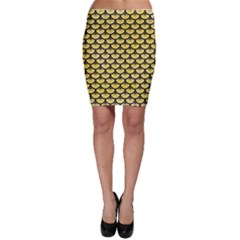 Scales3 Black Marble & Yellow Watercolor Bodycon Skirt