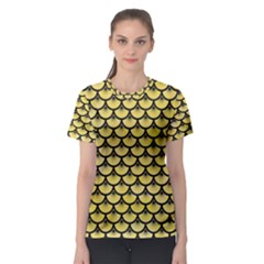 Scales3 Black Marble & Yellow Watercolor Women s Sport Mesh Tee