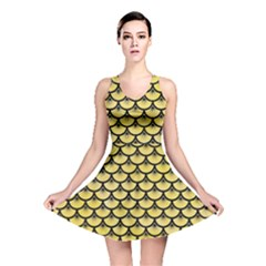 Scales3 Black Marble & Yellow Watercolor Reversible Skater Dress