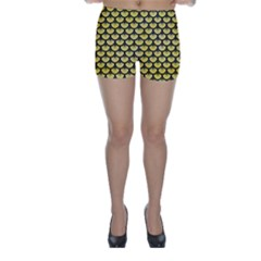 Scales3 Black Marble & Yellow Watercolor Skinny Shorts