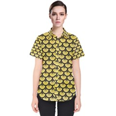 Scales3 Black Marble & Yellow Watercolor Women s Short Sleeve Shirt
