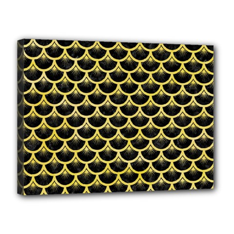 Scales3 Black Marble & Yellow Watercolor (r) Canvas 16  X 12