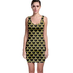 Scales3 Black Marble & Yellow Watercolor (r) Bodycon Dress