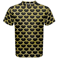 Scales3 Black Marble & Yellow Watercolor (r) Men s Cotton Tee