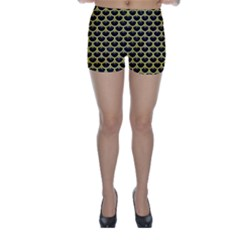 Scales3 Black Marble & Yellow Watercolor (r) Skinny Shorts