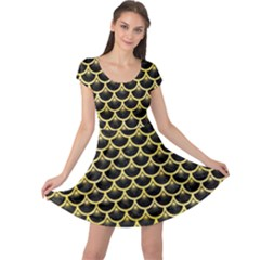 Scales3 Black Marble & Yellow Watercolor (r) Cap Sleeve Dress