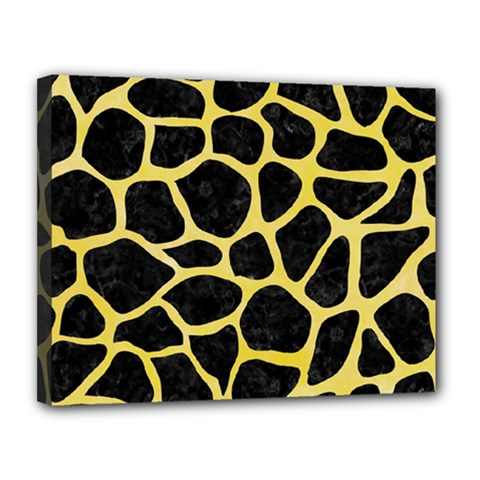 Skin1 Black Marble & Yellow Watercolor Canvas 14  X 11