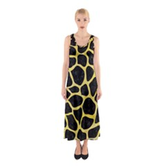 Skin1 Black Marble & Yellow Watercolor Sleeveless Maxi Dress