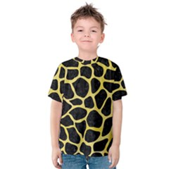 Skin1 Black Marble & Yellow Watercolor Kids  Cotton Tee