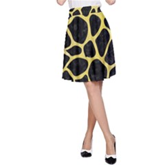 Skin1 Black Marble & Yellow Watercolor A Line Skirt