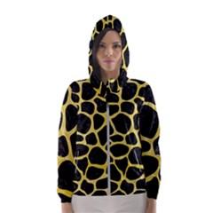 Skin1 Black Marble & Yellow Watercolor Hooded Wind Breaker (women)