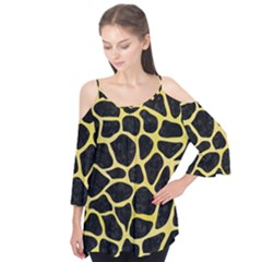 Skin1 Black Marble & Yellow Watercolor Flutter Tees