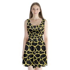Skin1 Black Marble & Yellow Watercolor Split Back Mini Dress