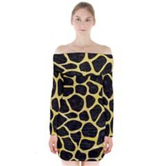 Skin1 Black Marble & Yellow Watercolor Long Sleeve Off Shoulder Dress