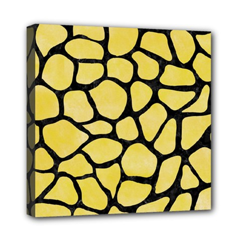 Skin1 Black Marble & Yellow Watercolor (r) Mini Canvas 8  X 8
