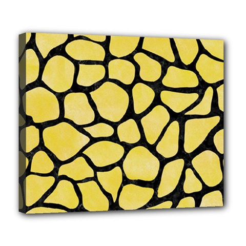 Skin1 Black Marble & Yellow Watercolor (r) Deluxe Canvas 24  X 20