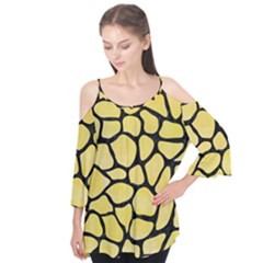 Skin1 Black Marble & Yellow Watercolor (r) Flutter Tees