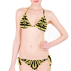 Skin2 Black Marble & Yellow Watercolor Bikini Set