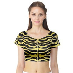 Skin2 Black Marble & Yellow Watercolor (r) Short Sleeve Crop Top
