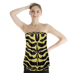 Skin2 Black Marble & Yellow Watercolor (r) Strapless Top