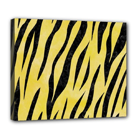 Skin3 Black Marble & Yellow Watercolor Deluxe Canvas 24  X 20