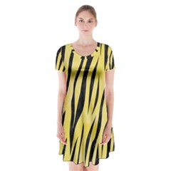 Skin3 Black Marble & Yellow Watercolor Short Sleeve V Neck Flare Dress
