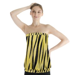 Skin3 Black Marble & Yellow Watercolor Strapless Top