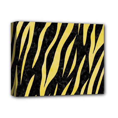 Skin3 Black Marble & Yellow Watercolor (r) Deluxe Canvas 14  X 11