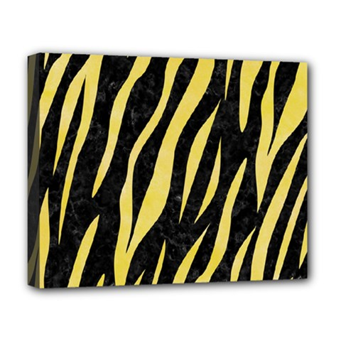 Skin3 Black Marble & Yellow Watercolor (r) Deluxe Canvas 20  X 16