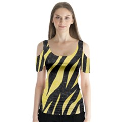Skin3 Black Marble & Yellow Watercolor (r) Butterfly Sleeve Cutout Tee