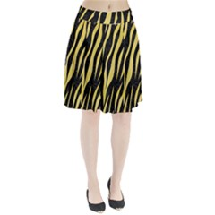 Skin3 Black Marble & Yellow Watercolor (r) Pleated Skirt