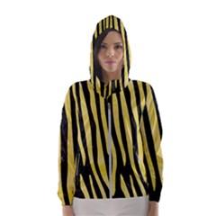 Skin4 Black Marble & Yellow Watercolor Hooded Wind Breaker (women)