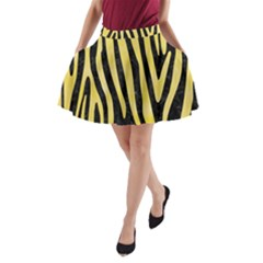 Skin4 Black Marble & Yellow Watercolor A Line Pocket Skirt