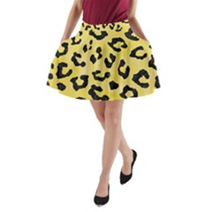 Skin5 Black Marble & Yellow Watercolor (r) A Line Pocket Skirt