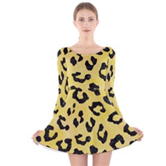 Skin5 Black Marble & Yellow Watercolor (r) Long Sleeve Velvet Skater Dress