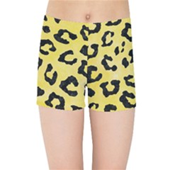 Skin5 Black Marble & Yellow Watercolor (r) Kids Sports Shorts
