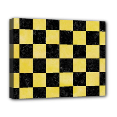 Square1 Black Marble & Yellow Watercolor Deluxe Canvas 20  X 16