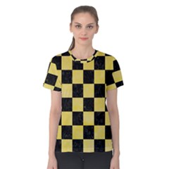 Square1 Black Marble & Yellow Watercolor Women s Cotton Tee
