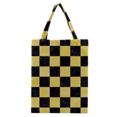 Square1 Black Marble & Yellow Watercolor Classic Tote Bag