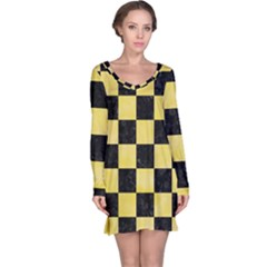 Square1 Black Marble & Yellow Watercolor Long Sleeve Nightdress