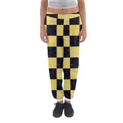 Square1 Black Marble & Yellow Watercolor Women s Jogger Sweatpants