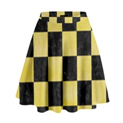 Square1 Black Marble & Yellow Watercolor High Waist Skirt