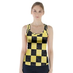 Square1 Black Marble & Yellow Watercolor Racer Back Sports Top