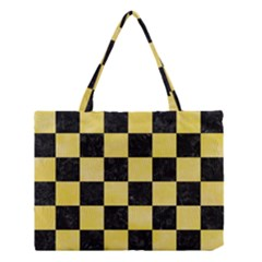 Square1 Black Marble & Yellow Watercolor Medium Tote Bag