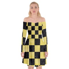 Square1 Black Marble & Yellow Watercolor Off Shoulder Skater Dress
