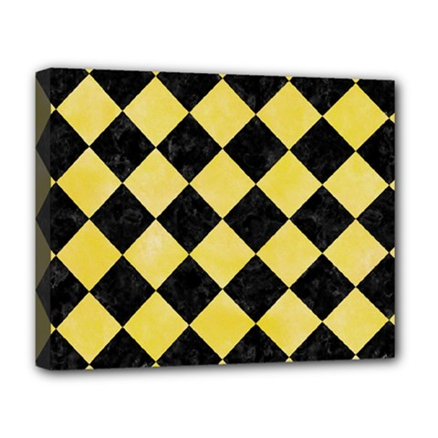 Square2 Black Marble & Yellow Watercolor Deluxe Canvas 20  X 16