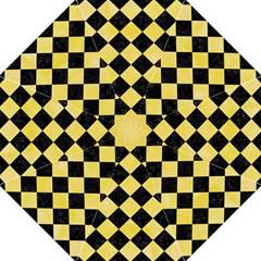 Square2 Black Marble & Yellow Watercolor Hook Handle Umbrellas (large)