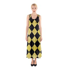 Square2 Black Marble & Yellow Watercolor Sleeveless Maxi Dress